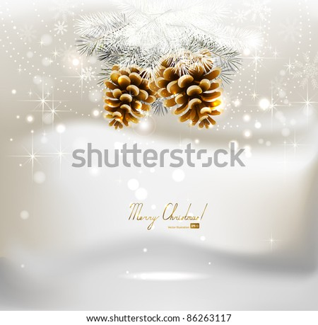 light Christmas background with two cones and fir tree - stock vector