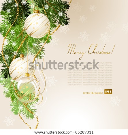 light Christmas background with white evening balls - stock vector
