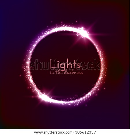 Light circle background with shiny particles. Vector eps10. - stock vector