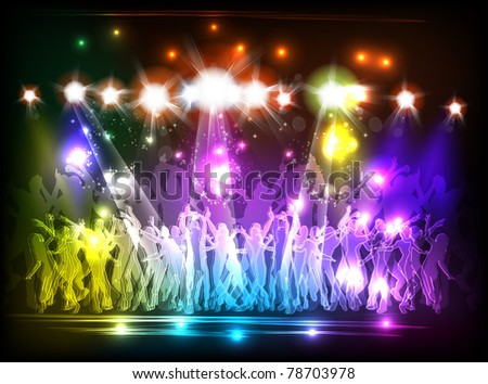 Light Club party and people dance - stock vector