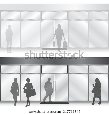 Light & dark vector Shop Glass Store Facades with people figures