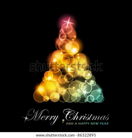 Light dots of in shades of red, yellow, golden to green blue forming a sparkling Christmas tree. EPS10