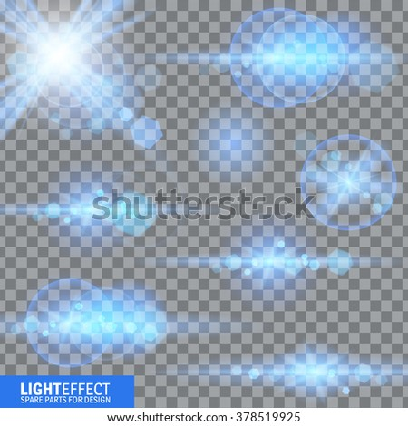 Light effect, flare, lighting. Spare parts for illustration. - stock vector