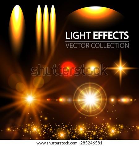 Light effect set. Spotlights, flash, stars & particles.  Vector illustration - stock vector