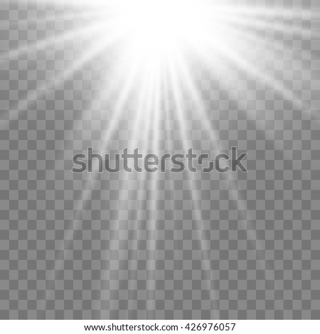 Light Effect Sun Rays On Transparent Background Vector Illustration