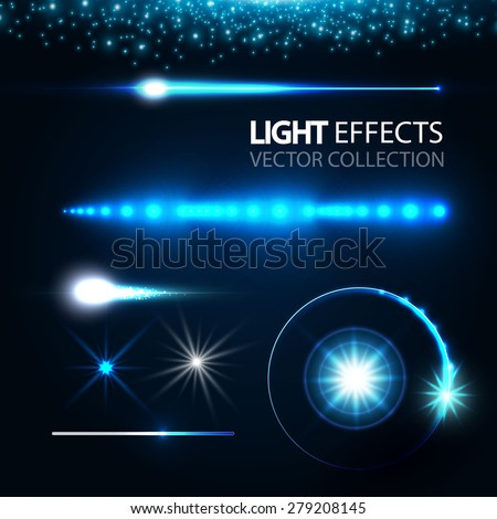 Light effects collection. Vector illustration - stock vector