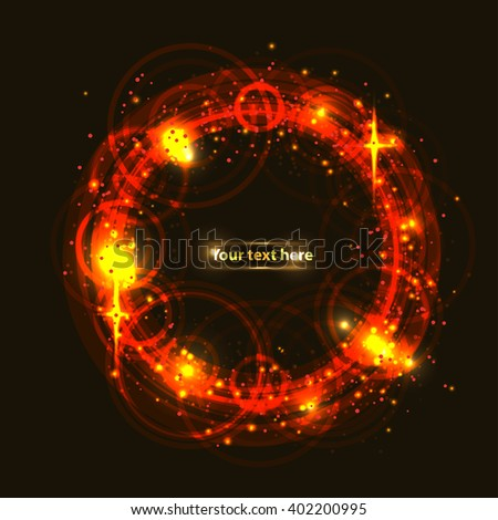light fire circle banner for your text - stock vector