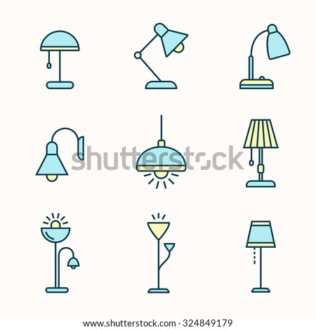 Light fixtures icon set. Lamps, chandeliers and other lighting devices. Linear material design style - stock vector