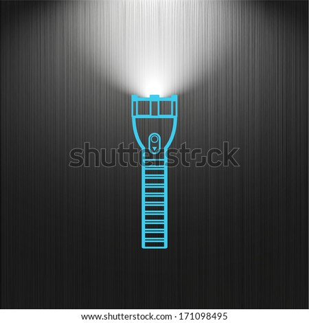 light, flashlight icon on a dark background for your design, web icon - stock vector