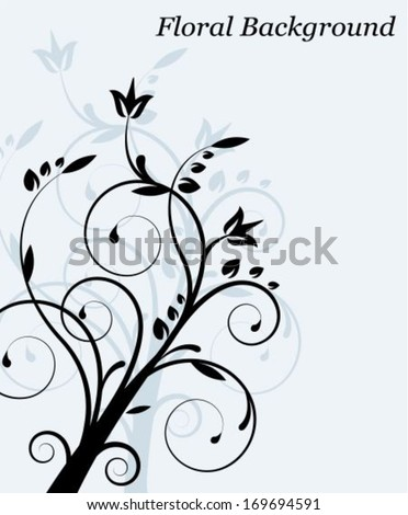 Light Floral abstract background with swirls, leaves and plants - stock vector