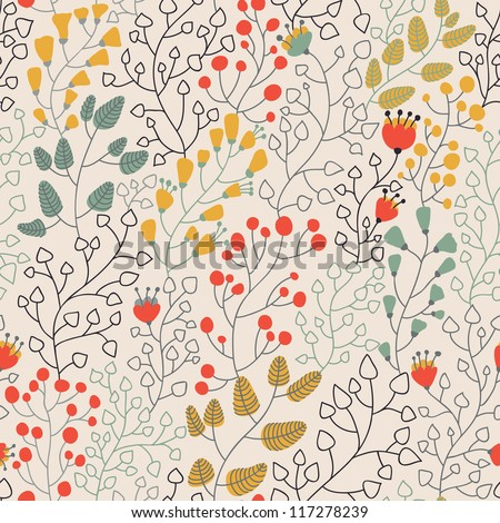 Light floral seamless pattern in vector - stock vector