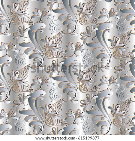 Light floral seamless pattern silver drapery stock vector 2018 light floral seamless pattern silver drapery background wallpaper illustration with vintage white 3d flowers mightylinksfo