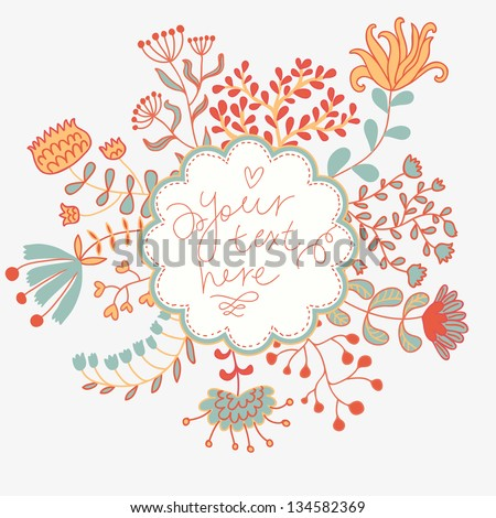 Light floral vector invitation. Natural card in vintage style. - stock vector