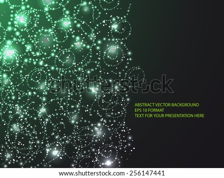 light frame with curling branch on dark green background - stock vector