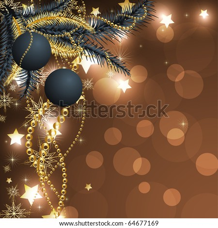 Light golden red abstract Christmas background with white snowflakes and ball. Retro background for vintage design. - stock vector