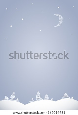 Light gray background for congratulatory text with pattern of stylized winter landscape with fir trees, crescent and stars