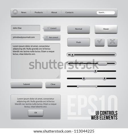 Light Gray UI Controls Web Elements: Buttons, Comments, Sliders, Message Box - stock vector