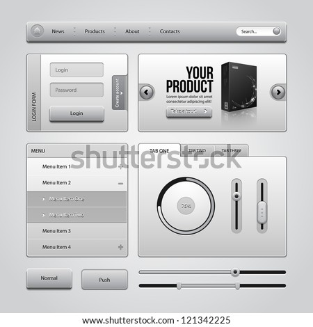 Light Gray UI Controls Web Elements 4: Buttons, Login Form, Authorization, Sliders, Banner, Box, Preloader, Loader, Accordion, Menu, Tabs, Search - stock vector
