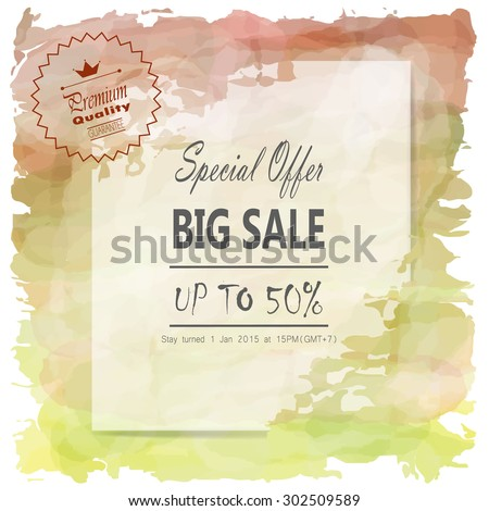 light green brown tone background on vintage mid year sale - stock vector