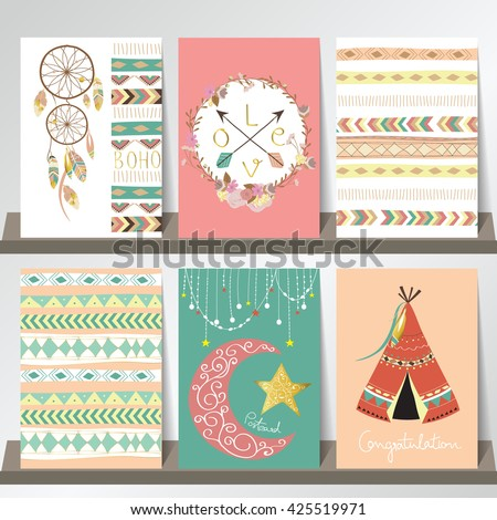 Light green gold pink card template in boho style on summer with arrow,moon,tent,feather and Indian hat - stock vector