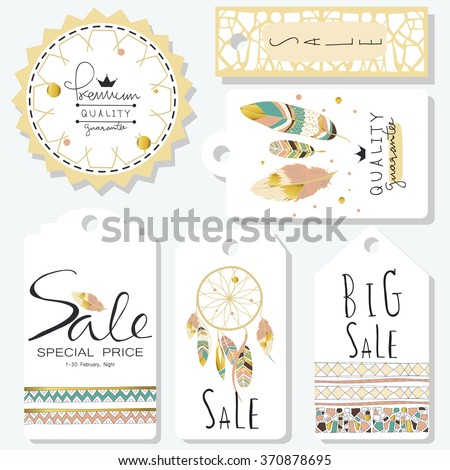 Light green gold pink tag sale in boho style on valentine's day - stock vector