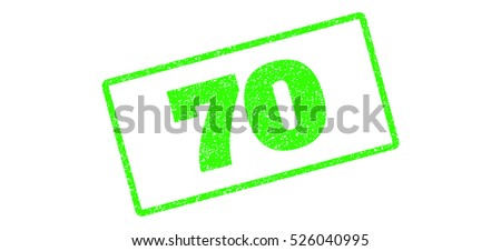 Light Green rubber seal stamp with 70 text. Vector caption inside rounded rectangular banner. Grunge design and scratched texture for watermark labels. Inclined sign on a white background.