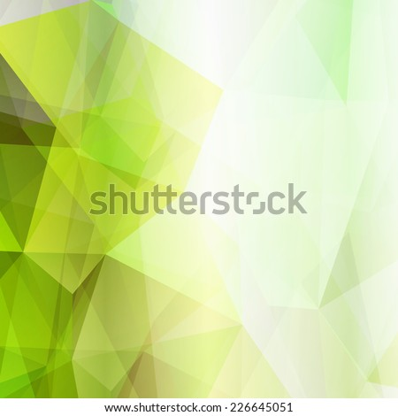 Light green shining abstract geometric pattern. Technological futuristic design. Triangular background. - stock vector