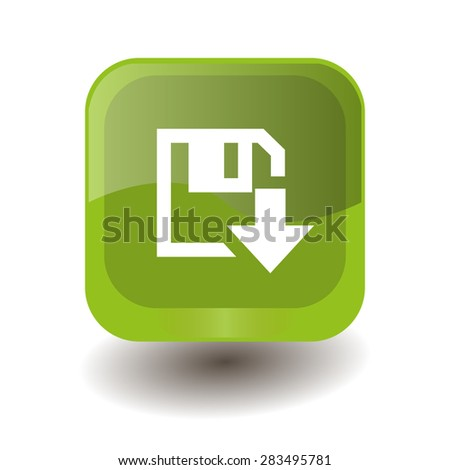 Light green square button with white download sign, vector design for website - stock vector