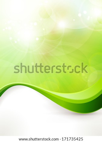 Light green vector background with blurred lights, light effects, sun burst and wave pattern. Great spring or green environmental background. Space for your text. EPS10 - stock vector