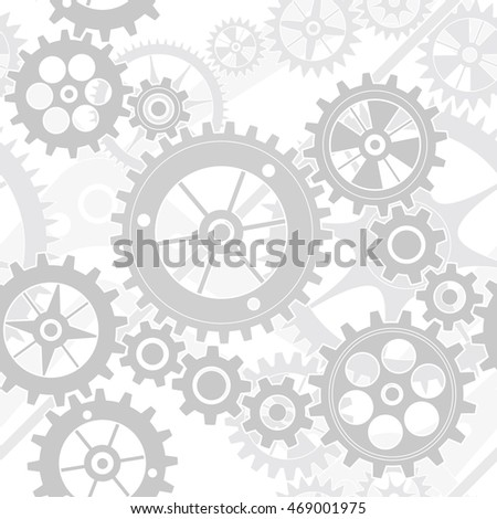 light grey gear wheels pattern seamless