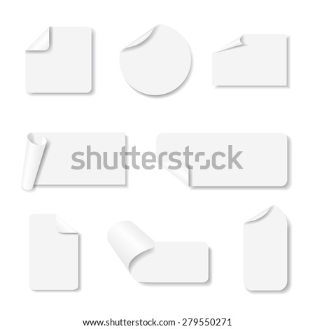 Light grey paper stickers set with shadows on white background. Vector eps10 illustration - stock vector