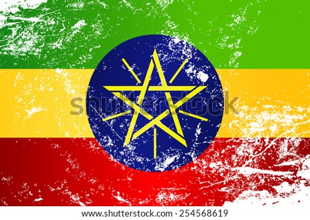 Light grunge effect flag of Ethiopia - stock vector