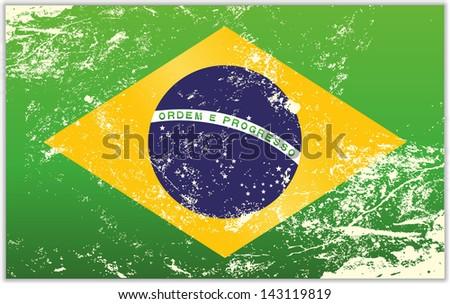 Light grunge effect flag of the Brazil - stock vector
