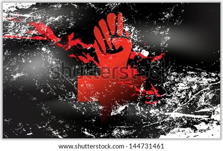Light grunge effect flag with Anarchy cross 2 - stock vector