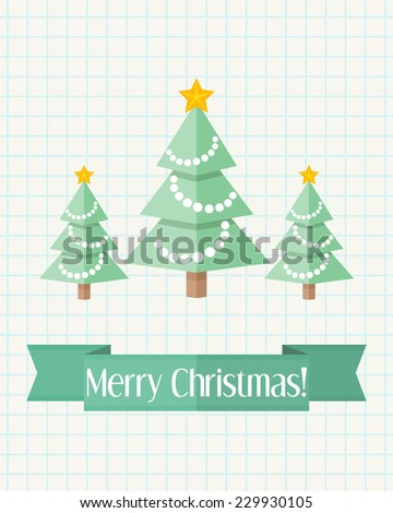 Light holiday Christmas card with decorated fir trees and green ribbon - stock vector