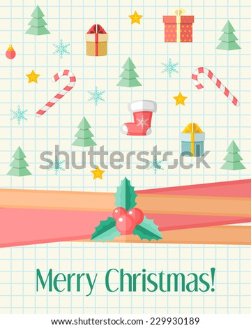Light holiday Christmas card with holly berry over red ribbon and Christmas icons - stock vector