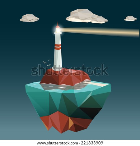 Light house in low polygon style. Vector illustration - stock vector