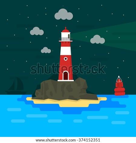 Light house on rocks at night / Flat design / Minimal island - stock vector