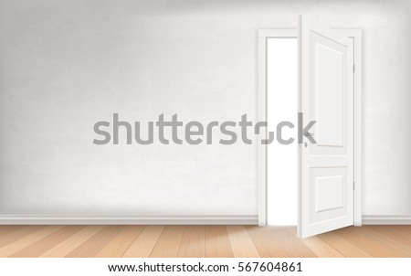 Light illuminates the empty room through the open door. Wooden parquet floor and stucco wall. Vector realistic concept illustration.
