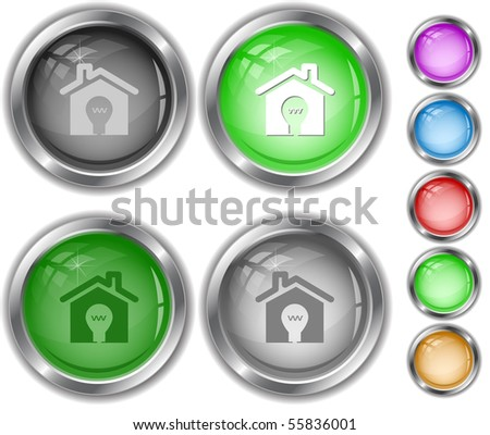 Light in home. Vector internet buttons. - stock vector