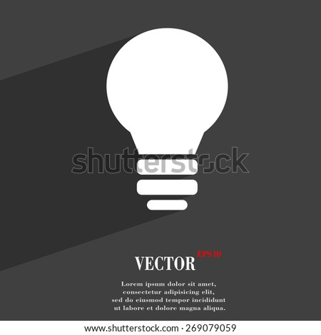Light lamp, Idea  icon symbol Flat modern web design with long shadow and space for your text. Vector illustration - stock vector
