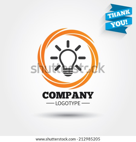 Light lamp sign icon. Idea symbol. Light is on. Business abstract circle logo. Logotype with Thank you ribbon. Vector - stock vector