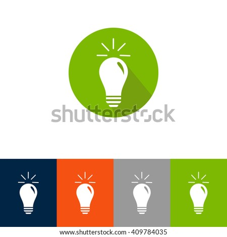 Light lamp sign icon. Idea symbol. Light is on. Colourful buttons. Vector. set of 5 colorful eco lamp signs - stock vector