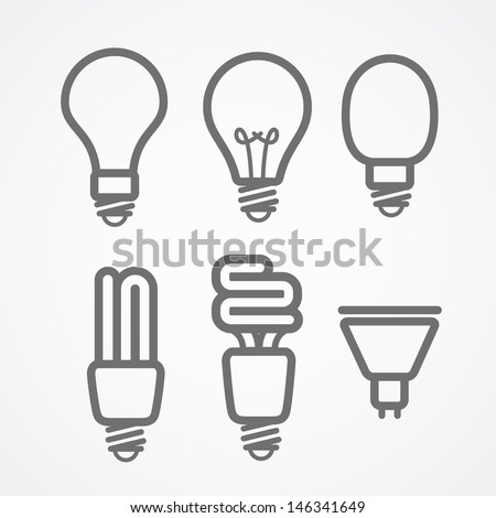 Light lamps icon collection - stock vector