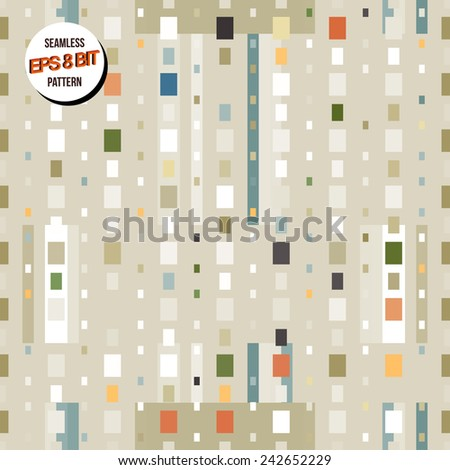 Light minimalistic 8 bit background. Seamless pattern. Vector design. - stock vector