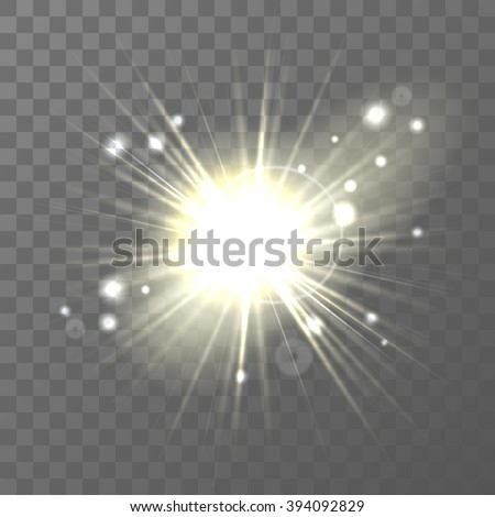 Light modern light effect with rays, sun . Easy replacement of the background. Vector illustration. EPS 10