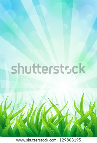 Light natural background with lush green grass. EPS10