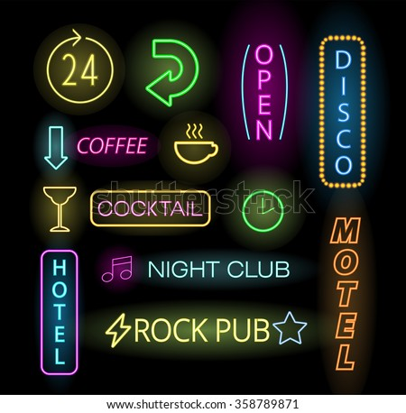 Light neon labels vector illustration. Neon labels font decorative symbols. Night neon light bright symbol. Neon symbols, neon light, neon bright. Lighting neon text objects - stock vector