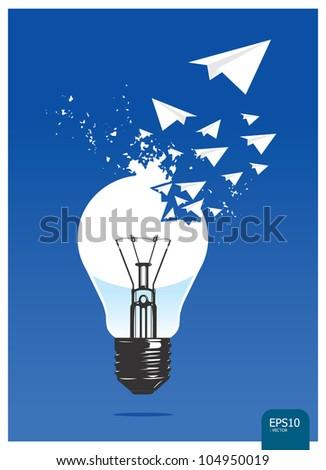 light of aircraft paper concept vector - stock vector