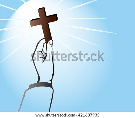 light of God , hand holding Cross of Christianity and blue background vector - stock vector